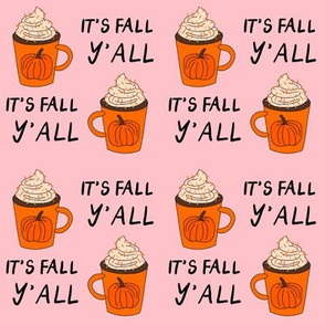 pumpkin spice  it's fall y'all  - pumpkin spice fabric, latte fabric, trendy girls fabric, fall autumn fabric, - pink