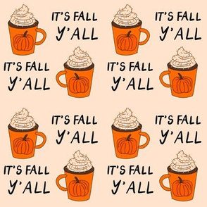 pumpkin spice  it's fall y'all  - pumpkin spice fabric, latte fabric, trendy girls fabric, fall autumn fabric, - cream