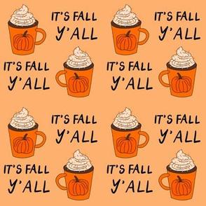 pumpkin spice  it's fall y'all  - pumpkin spice fabric, latte fabric, trendy girls fabric, fall autumn fabric, -peach