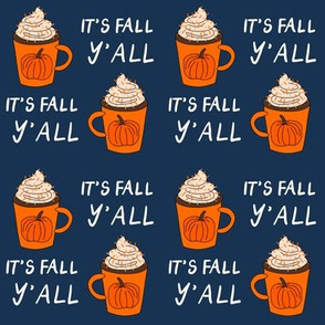 pumpkin spice  it's fall y'all  - pumpkin spice fabric, latte fabric, trendy girls fabric, fall autumn fabric, - navy