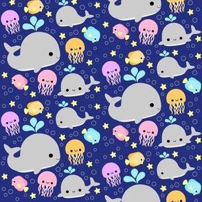Whale Friends - Dark Blue MEDIUM