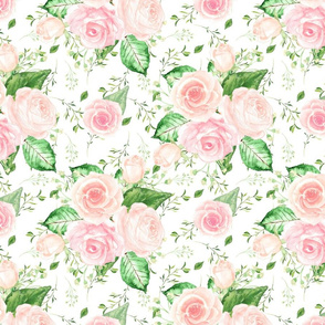 Watercolor Pink Floral Rose Blooms