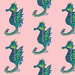 Seahorses on pink
