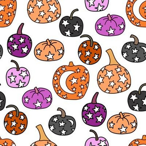 mystical pumpkin fabric, scary fabric, halloween fabric, fall fabric, stars, star fabric, pumpkins, magic pumpkins, magic - white purple