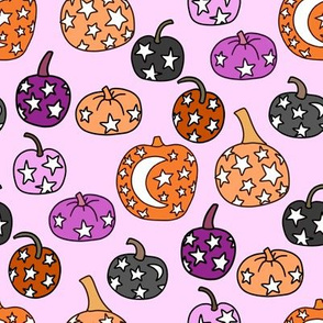 mystical pumpkin fabric, scary fabric, halloween fabric, fall fabric, stars, star fabric, pumpkins, magic pumpkins, magic - light purple