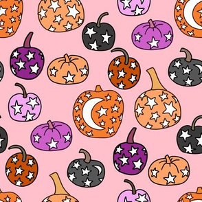 mystical pumpkin fabric, scary fabric, halloween fabric, fall fabric, stars, star fabric, pumpkins, magic pumpkins, magic - purple