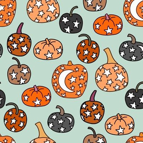 mystical pumpkin fabric, scary fabric, halloween fabric, fall fabric, stars, star fabric, pumpkins, magic pumpkins, magic - mint