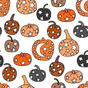 mystical pumpkin fabric, scary fabric, halloween fabric, fall fabric, stars, star fabric, pumpkins, magic pumpkins, magic - white
