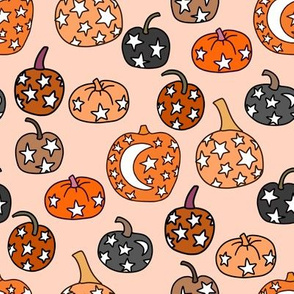 mystical pumpkin fabric, scary fabric, halloween fabric, fall fabric, stars, star fabric, pumpkins, magic pumpkins, magic - peach