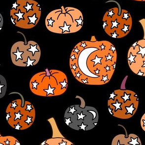 mystical pumpkin fabric, scary fabric, halloween fabric, fall fabric, stars, star fabric, pumpkins, magic pumpkins, magic - black