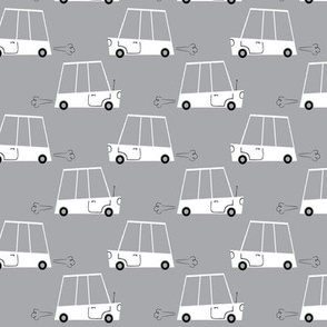 White Retro Cars on Grey