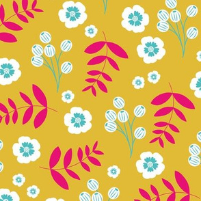 Bohemian summer blossom botanical leaves and cherry flower branch indian summer ochre yellow pink blue