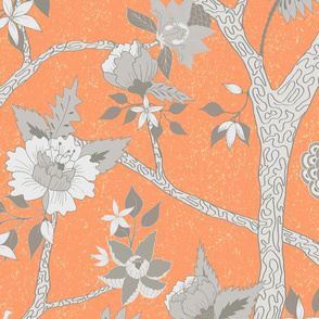 Custom Peony Branch Orange Grey