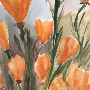 Orange Poppies Watercolor