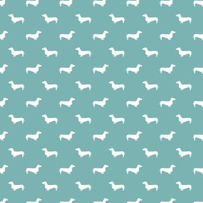 TINY marine blue dachshund silhouette fabric doxie design dachshunds fabric