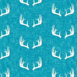 antlers on blue linen C19BS