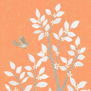 Orange Grey Citrus Blossom TREE PANEL1