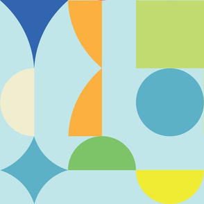large retro dots and squares on blue