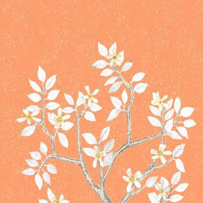 Orange Grey Citrus Blossom Tree Panel 2