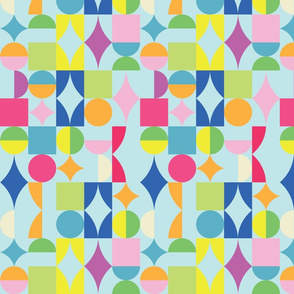 small retro dots and squares blue