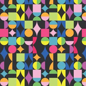 small retro dots and squares dark