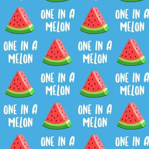 one in a melon - red on blue - watermelon summer fruit - LAD19