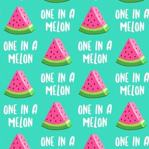 one in a melon - pink on teal - watermelon summer fruit - LAD19