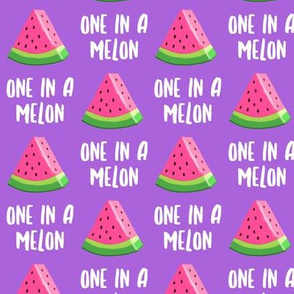 one in a melon - pink on purple - watermelon summer fruit - LAD19
