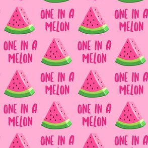 one in a melon - pink on pink - watermelon summer fruit - LAD19
