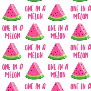 one in a melon - pink on white (pink type) - watermelon summer fruit - LAD19
