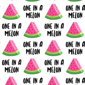 one in a melon - pink on white - watermelon summer fruit - LAD19