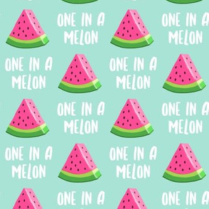 one in a melon - pink on aqua - watermelon summer fruit - LAD19
