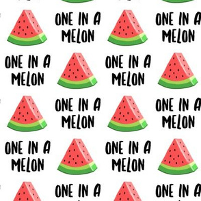 one in a melon - red on white - watermelon summer fruit - LAD19