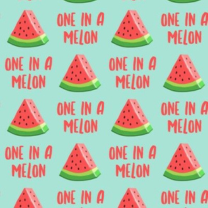 one in a melon - red on aqua - watermelon summer fruit - LAD19
