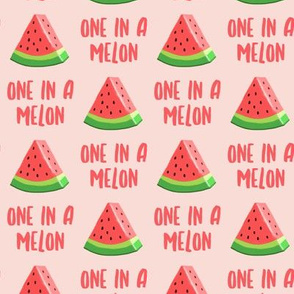 one in a melon - red on light pink - watermelon summer fruit - LAD19