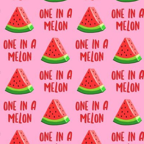 one in a melon - red on pink - watermelon summer fruit - LAD19