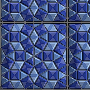 Fancy Faceted Tile in Blueberry Blue