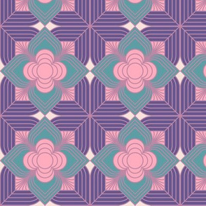 Art Deco Line Flower purple pink and emerald