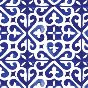 Blue Lisbon tiles watercolor