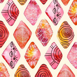 Patterned Watercolor Diamonds  (Large version)