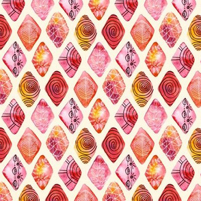 Patterned Watercolor Diamonds  (Small version)