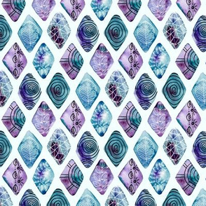 Blue Patterned Watercolor Diamonds (Small version)
