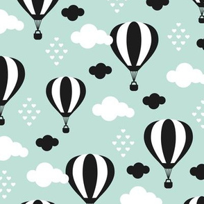 Soft pastel clouds black and white hot air balloon and love sky scandinavian style illustration pattern mint