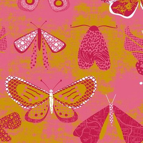 Butterflies and Moths pink red by Mount Vic and Me