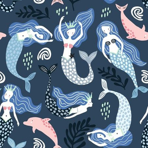 Mermaids with dolphins