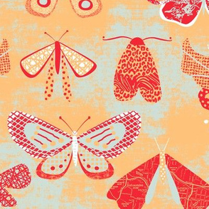 Butterflies and Moths peach red by Mount Vic and Me