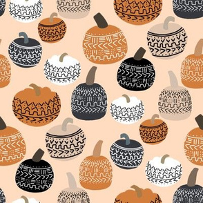 mudcloth pumpkin fabric - mudcloth fabric, thanksgiving fabric, fall, autumn, home, boho halloween, boho decor fabric - peach
