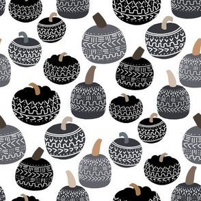 mudcloth pumpkin fabric - mudcloth fabric, thanksgiving fabric, fall, autumn, home, boho halloween, boho decor fabric - bw