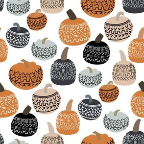 mudcloth pumpkin fabric - mudcloth fabric, thanksgiving fabric, fall, autumn, home, boho halloween, boho decor fabric - white