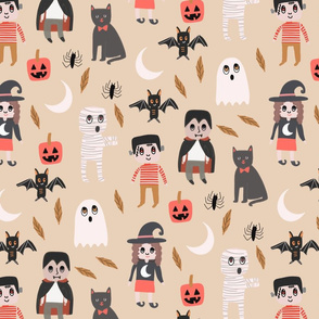 Halloween town fabric, cute creepy scary Halloween fabric, ghost fabric, witch fabric, cat fabric - cream